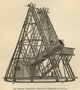 Sir William Herschel's forty-foot telescope at slough.  Source: http://digitalcollections.nypl.org/items/510d47e0-bd56-a3d9-e040-e00a18064a99