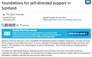 Screenshot Foundations for self-directed support in Scotland course (hosted on OpenLearn)