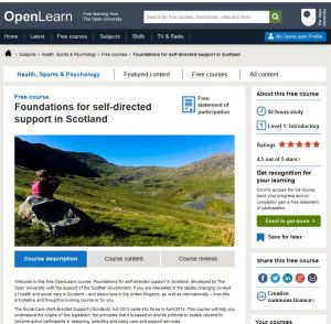Foundations of Self-Directed Support course on OpenLearn