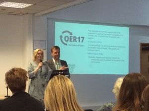 Josie Fraser and Alek Tarkowski welcome us to OER17 'The Politics of Open'